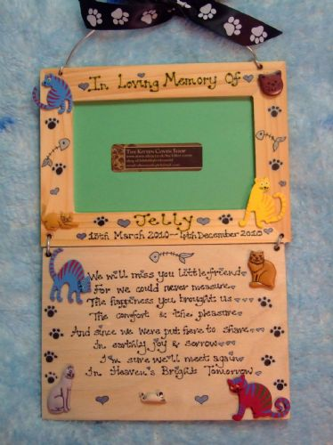 Cat Kitten Memorial Photo Frame & Verse Plaque Sign Handmade to Order Will Miss You Little Friend